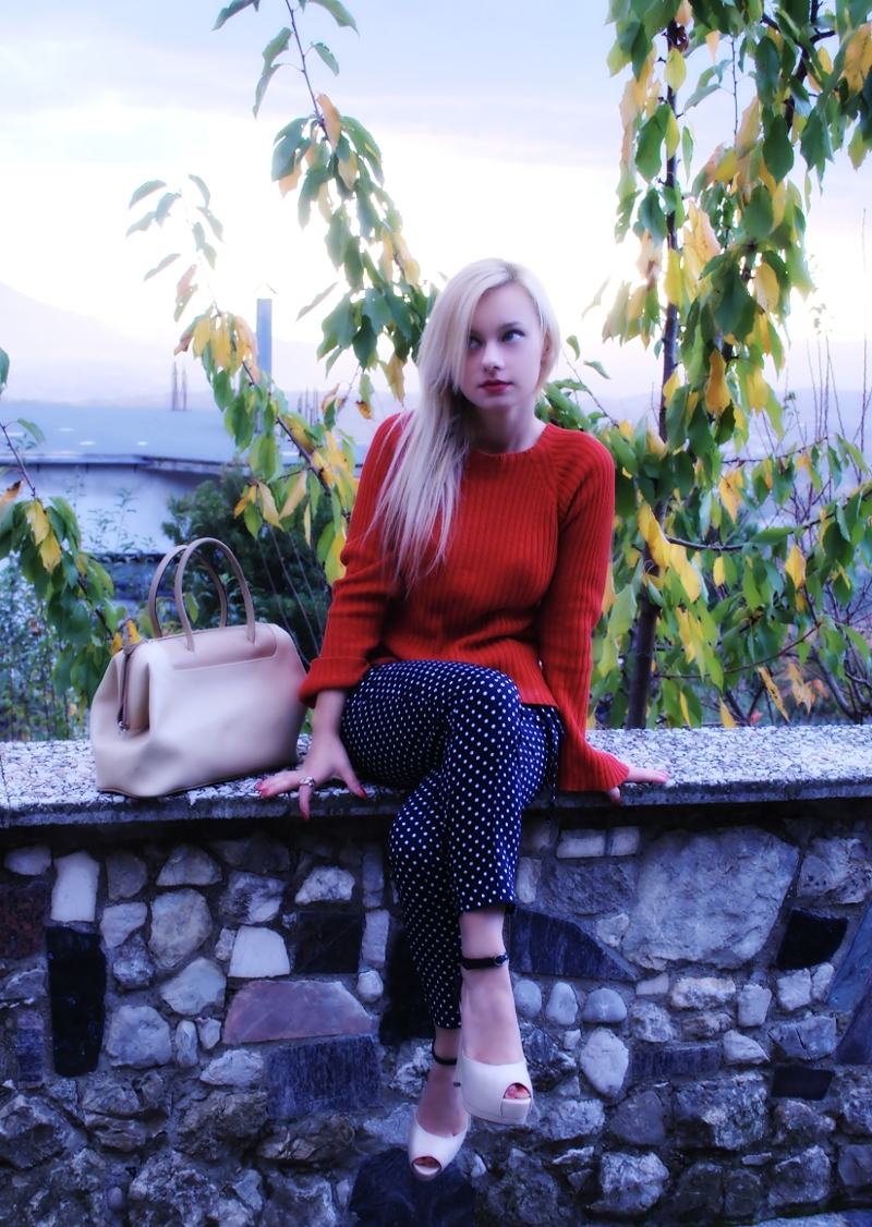 Crepuscolo,outfit maglione,Teresa Morone fashion blogger,theFashiondiet fashion blog,pois,