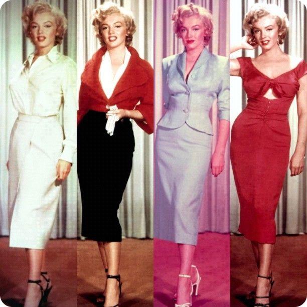 lunghezza midi, Marilyn Monroe pensil skirt,